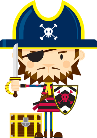 Cartoon Pirate Captain with Sword and Shield Ilustração
