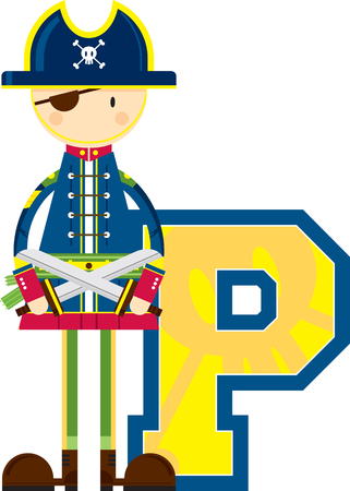 P is for Pirate Educational Illustration Stock Illustratie