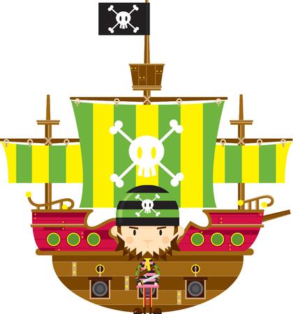 Cartoon Bandana Pirate and Ship 写真素材 - 124436830