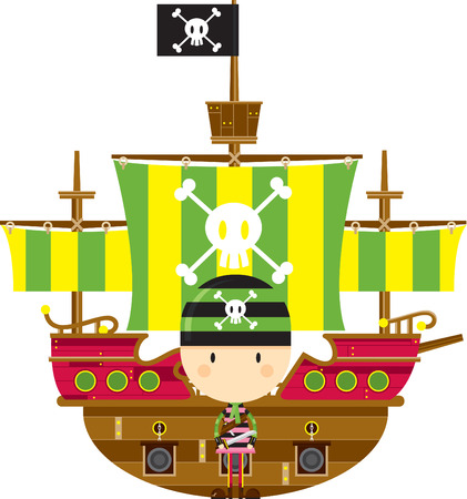 Cartoon Bandana Pirate and Ship Stock Illustratie