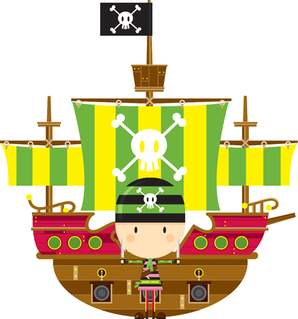 Cartoon Bandana Pirate and Ship 向量圖像