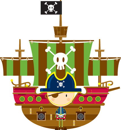 Cartoon Pirate Captain and Ship  イラスト・ベクター素材