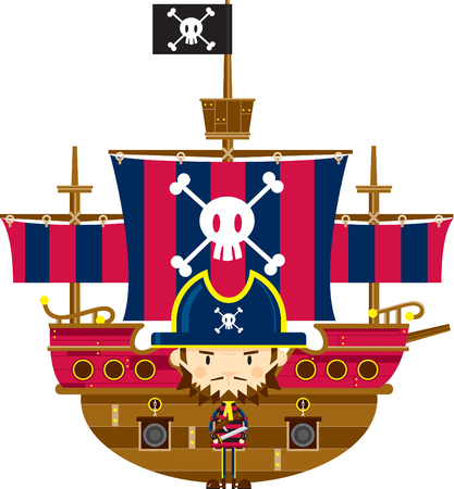 Cartoon Pirate Captain and Ship Illustration