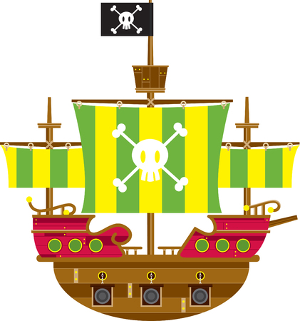 Cartoon Pirate Ship With Skull and Crossbones Stock Illustratie