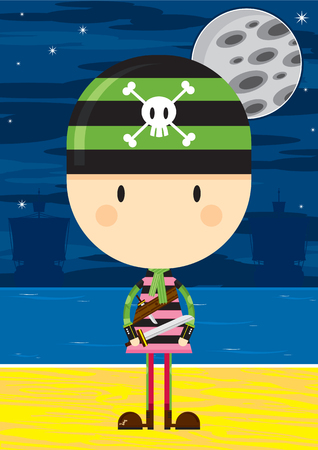 Cartoon Bandana Pirate with Swords Ilustração