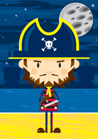 Cartoon Eye Patch Pirate Captain with Sword