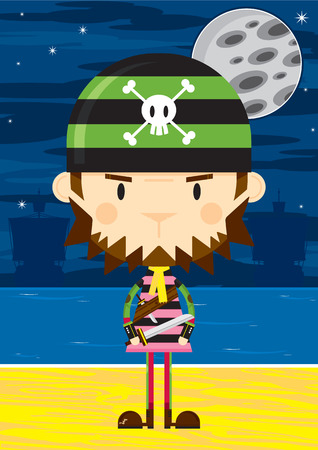 Cartoon Bandana Pirate with Sword