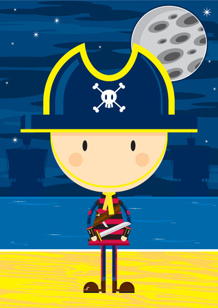 Cartoon Pirate Captain with Sword Ilustração