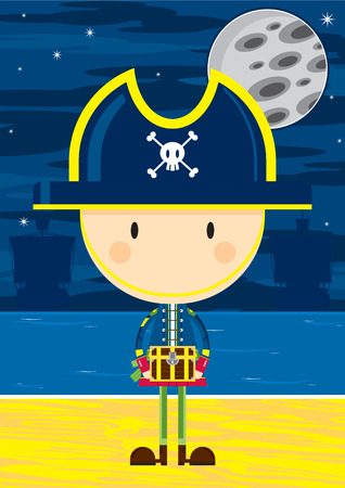 Cute Cartoon Pirate Captain with Treasure Chest