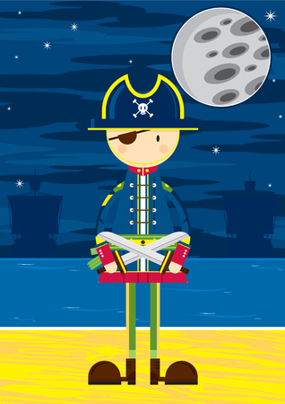 Cartoon Eye Patch Pirate Captain with Swords