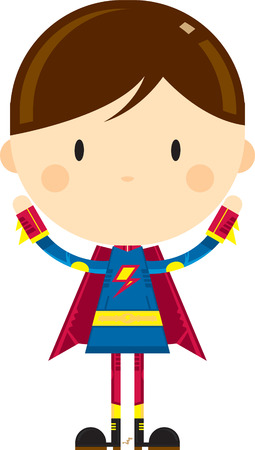 Cute Cartoon Heroic Superhero Character Illustration