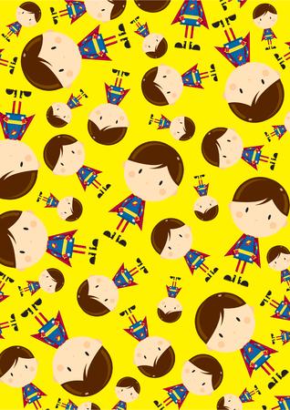 Cute Cartoon Heroic Superhero Pattern Stock Vector - 124436855