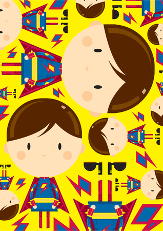 Cute Cartoon Heroic Superhero Pattern