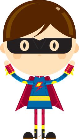 Cute Cartoon Heroic Superhero in Mask Stock Vector - 124436860