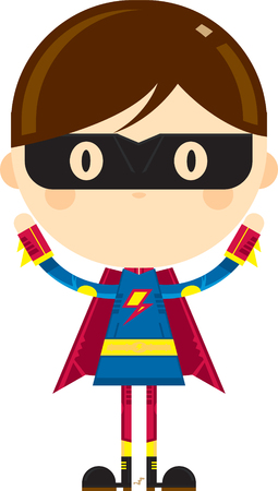Cute Cartoon Heroic Superhero in Mask