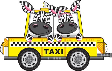 Cartoon Yellow Taxi Cab with Cute Zebra Ilustração