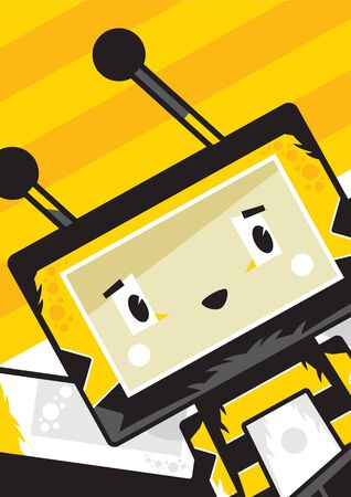 Cute Cartoon Block Honey Bee Character