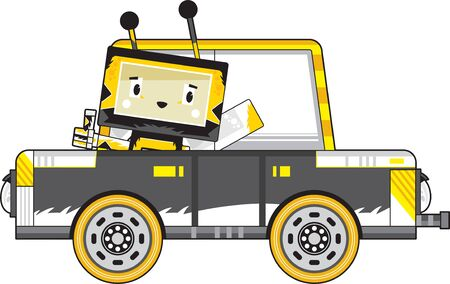 Cute Cartoon Block Honey Bee in Car