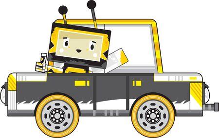 Cute Cartoon Block Honey Bee in Car