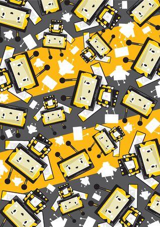 Cute Cartoon Block Honey Bee Character Pattern