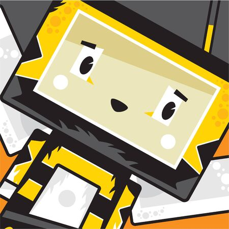 Cute Cartoon Block Honey Bee Character