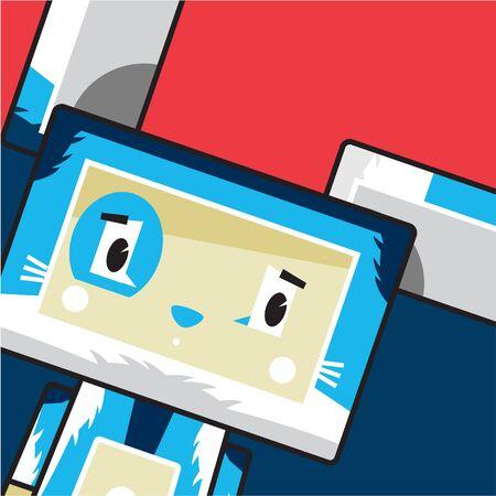 Cute Cartoon Block Bunny Rabbit Character