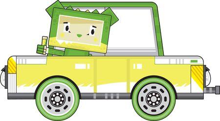 Cute Cartoon Block Crocodile Character in Car Illustration