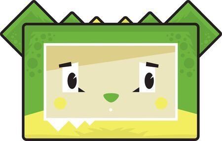 Cute Cartoon Block Crocodile Head