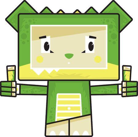 Cute Cartoon Block Crocodile with Thumbs Up
