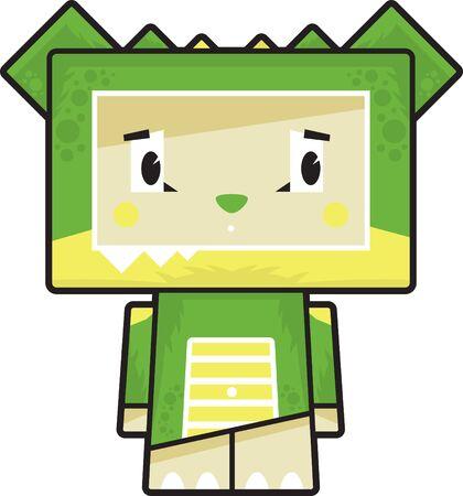 Cute Cartoon Block Crocodile Character Illustration