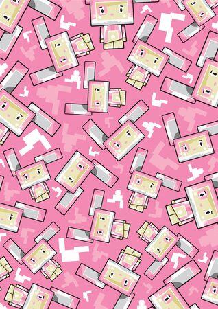 Cute Cartoon Block Bunny Rabbit Pattern