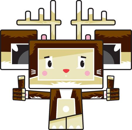 Cute Cartoon Block Reindeer with Thumbs Up Ilustração