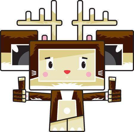 Cute Cartoon Block Reindeer with Thumbs Up Illustration
