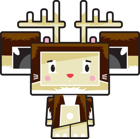 Cute Cartoon Block Reindeer Character