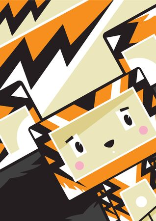Cute Cartoon Block Tiger Character