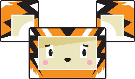 Cute Cartoon Block Tiger Face