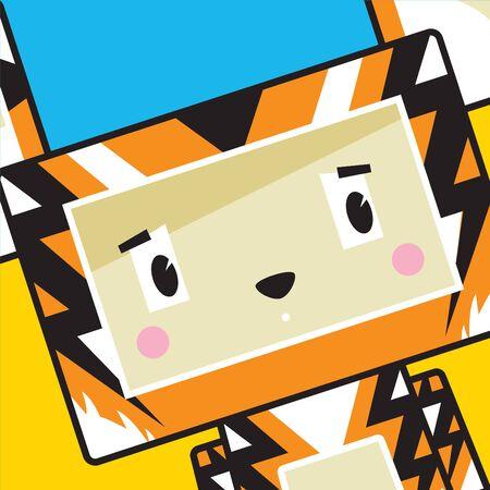 Cute Cartoon Block Tiger Character