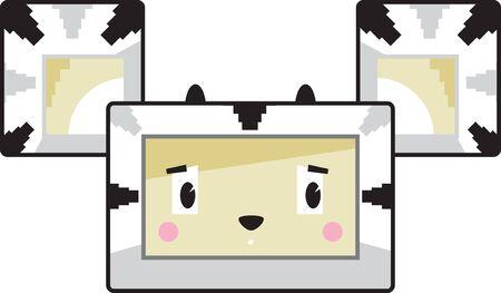 Cute Cartoon Block Zebra Face Illustration
