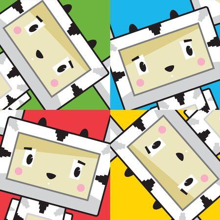 Cute Cartoon Block Zebra Character