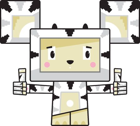 Cute Cartoon Block Zebra with Thumbs Up