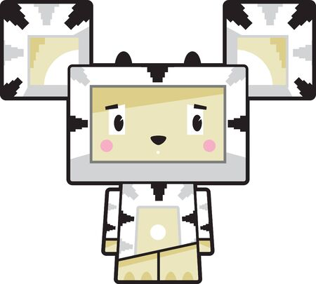 Cute Cartoon Block Zebra Character