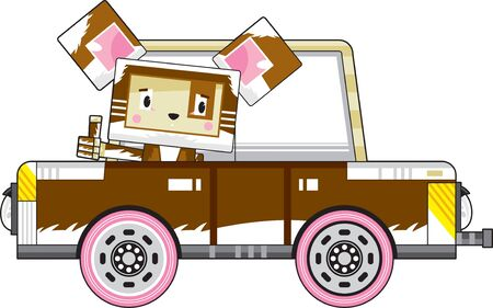 Cute Cartoon Block Puppy Dog Character in Car