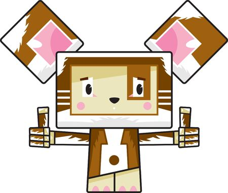 Cute Cartoon Block Puppy Dog with Thumbs Up