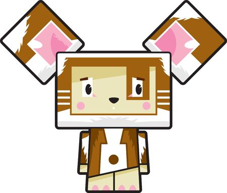 Cute Cartoon Block Puppy Dog Character