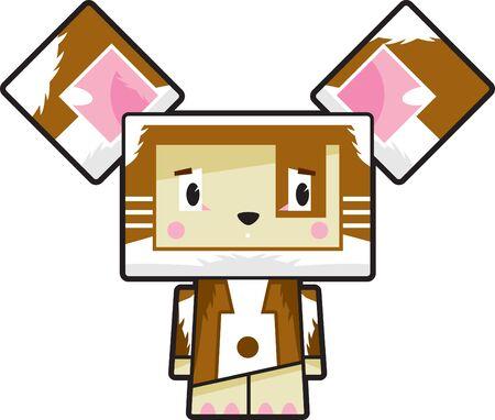 Cute Cartoon Block Puppy Dog Character