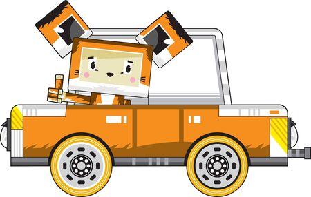 Cute Cartoon Block Sly Fox in Car