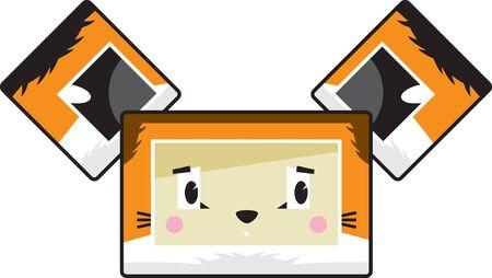 Cute Cartoon Block Sly Fox Face