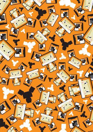 Cute Cartoon Block Sly Fox Pattern