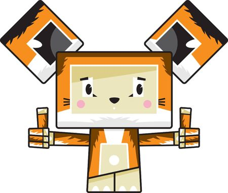 Cute Cartoon Block Sly Fox with Thumbs Up