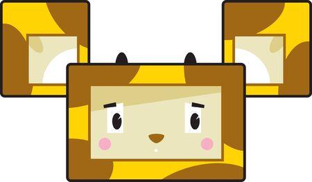 Cute Cartoon Block Giraffe Face  イラスト・ベクター素材